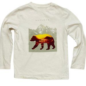 Gap White 'Explore' Bear Print Long Sleeve Shirt